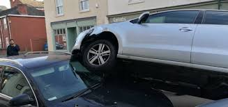 this unbelievable car crash happened in leam yesterday
