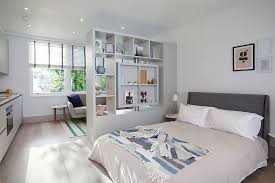 Open Bookshelf Room Divider Bedrooms Stylish Bedroom With Cozy Bed Near White Modern Open