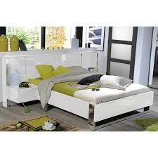 ensemble chambre complete adulte lit adulte contemporain laqué blanc brillant 140x190