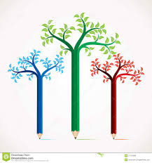 creative and colorful pencil tree design royalty free stock photos