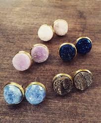 druzy stud earrings bridesmaids gift gold druzy studs druzy earrings great