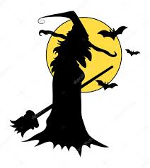 witch silhouettes halloween vector illustration u2014 stock vector