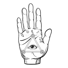 vector fortune teller sketch with all seeing eye