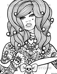 coloring pages tattoos digital download print your own coloring book outline page hard