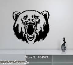 popular wall mural hunting buy cheap wall mural hunting lots from mad world roaring bear hunting wild animal wall art stickers decal home diy decoration wall