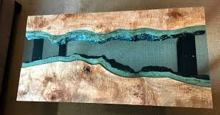 live edge table with turquoise inlay custom live edge tables with glass inlay adansonia woodworks