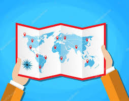cartoon hands hold folded paper map of world with color point