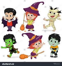 happy halloween set cute cartoon children stock vector 485010820