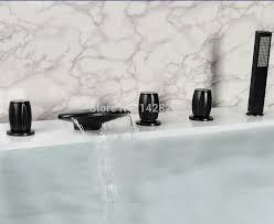 Waterfall Tub Faucet Oil Rubbed Bronze Widespread Three Handles Waterfall Bathtub Tub