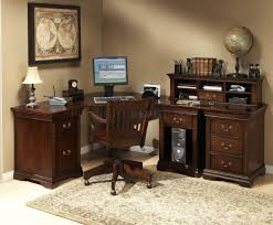Office Desk With Hutch L Shaped by Burnish Cherry Finish L Shape Classic Office Desk W Small Hutch