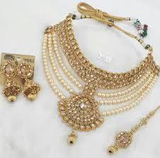 indian bridal necklace sets images Diamond pearl sets jewellery indian bridal jewelry pinterest jpg