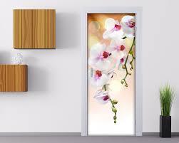adesivi porta orchidea fiori adesivo per porte interni decori