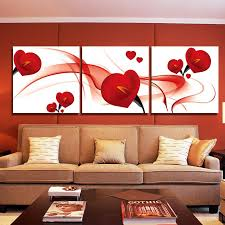 fashion red flower modern art wall painting home decoration art