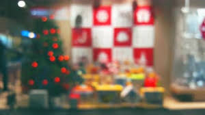 blurred background window boutique shop interior with glowing