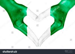 Nigerian Flag Heart Shape Human Hands Painted Nigerian Stock Photo 111525104