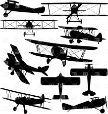 silhouettes of old aeroplane contours of biplanes vector clipart