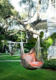 hanging hammock chair in landscape beach style with next to
