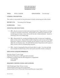 Cashier Responsibilities For Resume Cashier Resume Description Template Examples