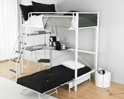 bedroom black bunk bed with two beds connected by white iron