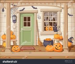vector illustration front door porch pumpkins stock vector