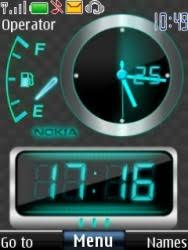 theme clock free neon dual clock s40 mobile phone theme 1027