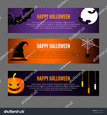 Halloween Banners by Set Three Horizontal Halloween Banners Vector Stock Vector