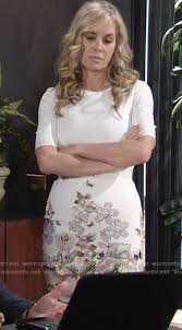 ashley s hairstyles from the young and restless wornontv ashley s white dress with floral print on the young and