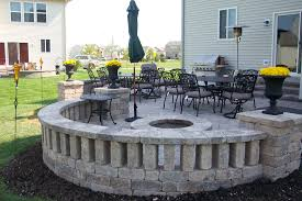 Backyard Brick Patio Design With Grill Station Seating Wall And by Brick Patio Wall Designs Exquisite Ideas Beauty Remodelling Of