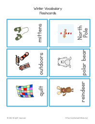winter vocabulary flash cards set 3 winter and christmas