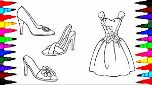 coloring pages barbie dress shoes coloring book videos