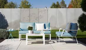 canapé de jardin design salon de jardin design bleu ciel et blanc 3 places ta
