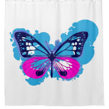 Blue Butterfly Curtains Blue Butterfly Shower Curtains Zazzle
