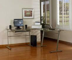Glass Desk Table Tempered Glass Computer Desks Desk Design Modern L Shaped