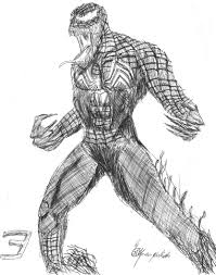drawn spiderman venom drawing pencil and in color drawn
