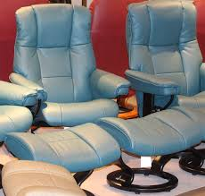 Blue Leather Chair And Ottoman Stressless Mayfair Cori Petrol Leather Recliner Chair And Ottoman