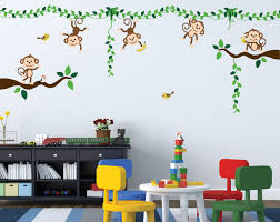 monkey jungle tree vine forest wall decal safari birds sticker set