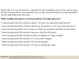 Environmental Services Resume Sample by Top 10 Environmental Service Aide Interview Questions And Answers