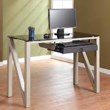 furniture computer desk with glass top and printer shelf using