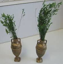 pair of german antique miniature gilt painted pewter vases or urns