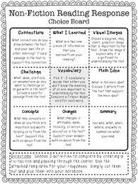 non fiction reading response choice board version 2 grades 3 6