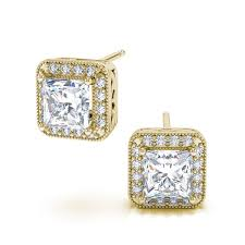 gold diamond stud earrings 2 90ctw halo princess cut diamond stud earrings in 18k yellow gold