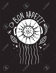 bon appetit pasta design with colander and lettering white on