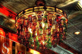 How To Make A Chandelier Out Of Beer Bottles Beer Bottle Chandelier On The Boarder Mexican Grill Here U2026 Flickr