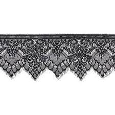 black lace trim 3 yards black floral lace trim single scalloped edge eyelash mesh