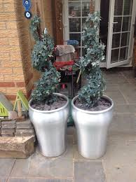 x2 sliver pots with false trees in leicester forest east