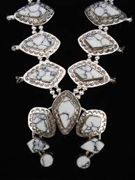 white turquoise necklace images Navajo silver and white buffalo turquoise squash blossom necklace jpg