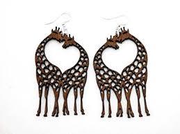 giraffe earrings brown giraffe heart wooden earrings dangle earrings