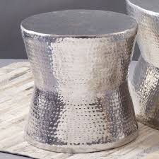 Drum Accent Table Silver Tam Tam Hammered Accent Table Tozai Home Drum Tables Accent
