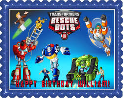 transformers cake toppers image topper your photo frame frosting transformers rescue bots 1 edible cake or cupcake topper edible