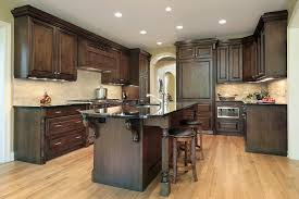 dark cabinets light floor white spring granite countertop grey